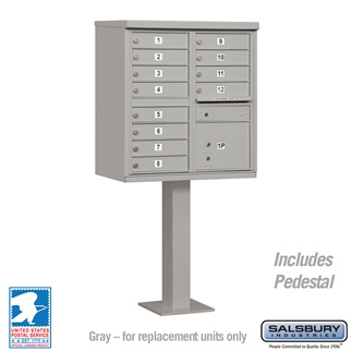 12 Door Cluster Box Unit Gray