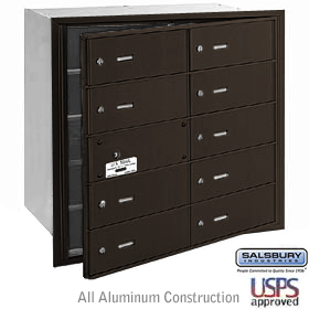 4B+ Horizontal Mailbox - 10 B Doors (9 usable) - Bronze - Front Loading - USPS Access