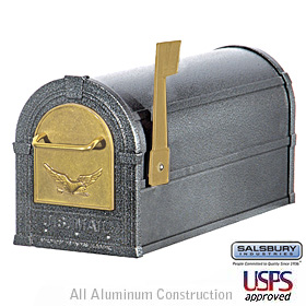 Eagle Rural Mailbox Pewter Gold Eagle
